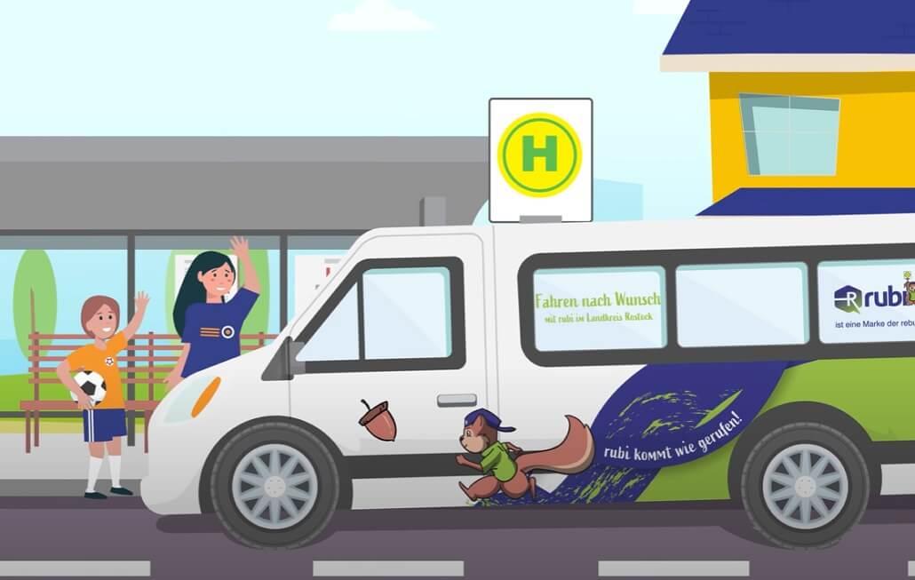 Der Rufbus Rubi erscheint im Erklärvideo zur vereinbarten Zeit an der Wunschhalte, um 2 Kinder zum Sport zu fahren.